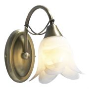 Doublet Single Wall Light in Antique Brass with an Alabaster Glass Shade, Switched - där DOU0775